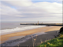 NZ8911 : Whitby Beach and West Pier by David Dixon