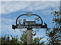 TL6149 : West Wickham village sign by Keith Edkins