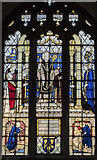 SP0343 : Stained glass window,  St Lawrence's church, Evesham by Julian P Guffogg