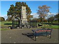 NS3974 : War memorial and new memorial bench by Lairich Rig