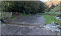 SO4494 : Road between two fords, Carding Mill Valley, Church Stretton  by Jaggery
