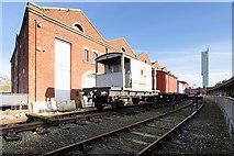 SJ8297 : Railway Wagons and Warehouse by David Dixon