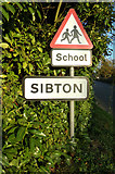 TM3569 : Sibton Village Name Sign by Adrian Cable