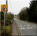 ST0089 : Warning sign - staggered crossroads  ahead, Penrhiwfer by Jaggery