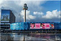 SJ3490 : Electronic advertising hoarding, St John's Centre, Liverpool by Matt Harrop