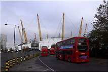 TQ3979 : Buses beside the O2 Arena, Greenwich by Mike Pennington