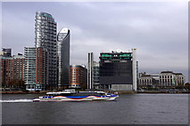 TQ3880 : MBNA Clipper riverbus passing Blackwall from North Greenwich by Mike Pennington
