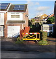ST3090 : Yellow barrier on the north side of Larch Grove, Malpas, Newport by Jaggery