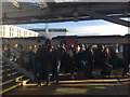 SK3635 : Football supporters and others boarding a train at platform 6A, Derby station by Robin Stott