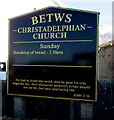 SS8986 : Betws Christadelphian Church information board by Jaggery