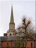 SO9198 : Church spire and convent in Wolverhampton by Roger  Kidd