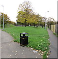 ST3186 : Bilingual text on a bin at the edge of a recreation ground, Pill, Newport by Jaggery