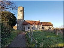 TM4077 : Holton St Peter Church and churchyard by Helen Steed