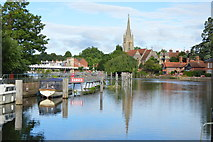 SU8586 : Church of All Saints' and Marlow Lock by N Chadwick