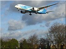 TQ0975 : A plane landing over Myrtle Avenue by Marathon