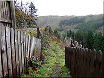 SN7377 : Path leading down from the railway foot crossing at Tynycastell by John Lucas