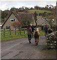 SO3828 : Walking the llamas in Ewyas Harold by Jaggery