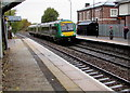 SJ6910 : Train from Shrewsbury and Wellington arrives at Oakengates station platform 1 by Jaggery