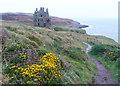 NX0053 : The coast path approaching Dunskey Castle by Humphrey Bolton