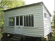 SP3365 : Summerhouse with a past, St Mary's Allotments, Radford Road, Leamington by Robin Stott