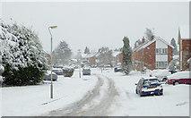 SO9095 : Sandhurst Drive under snow in Penn, Wolverhampton by Roger  Kidd