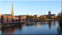 SO8454 : Worcester Cityscape from Worcester Bridge by Jonathan Billinger