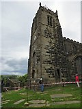 SJ9995 : Abseiling at Mottram Church  by Gerald England