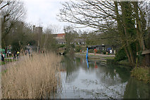 TL3706 : Mill Lane Arm, River Lea (or Lee) at Broxbourne by David Kemp