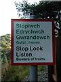 SN7377 : Warning sign beside the Vale of Rheidol Railway by John Lucas