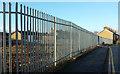 SE3156 : Steel fence, Claro Way, Harrogate by Derek Harper