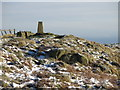 NY7467 : Trig point on Hadrian's Wall above Winshield Crags by Mike Quinn