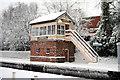 SO0561 : Llandrindod Wells signal box in the snow by Richard Thompson