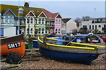 TQ1602 : Fishing boats and coloured houses at East Worthing by David Martin