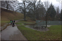 SP4317 : Flooding at the north end of Queens Pool by Robert Eva