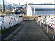 SK3587 : Gilbert Street, Graffiti and Tramway Crossing in Sheffield by Peter Wood