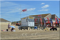 TQ9618 : Camber Sands - lifeguard hut by N Chadwick