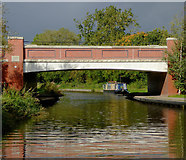SK0419 : New bridge across the canal north of Rugeley, Staffordshire by Roger  Kidd