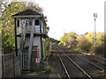 SJ9490 : Romiley railway station - signalbox by Stephen Craven
