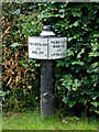 SJ8935 : Canal mile post near Stone in Staffordshire by Roger  Kidd