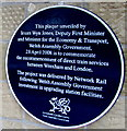 SJ3250 : April 2008 blue plaque on Wrexham General railway station by Jaggery
