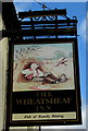 ST4287 : Wheatsheaf Inn name sign, The Square, Magor by Jaggery