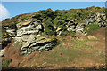 SX0586 : Cliff face above Trebarwith Strand by Derek Harper