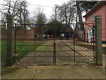 TM0458 : Wrought iron gates at the south end of Crowe Street, Stowmarket by Robin Stott