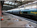 SJ4912 : Freightliner train in Shrewsbury station by Jaggery