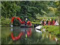 SO8274 : Canal dredging south of Kidderminster in Worcestershire by Roger  Kidd