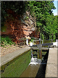 SO8275 : Lock with sandstone rock face, Kidderminster, Worcestershire by Roger  Kidd