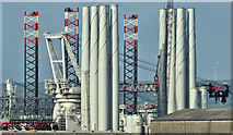 J3677 : Wind turbine masts, Belfast harbour - February 2018(2) by Albert Bridge