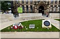 SJ8398 : Small monuments outside Manchester Town Hall by Gerald England