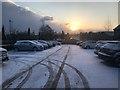 SJ8644 : Hospital car park in the snow by Jonathan Hutchins
