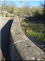SJ1956 : Bridge parapet over the River Alyn/Afon Alun by John S Turner